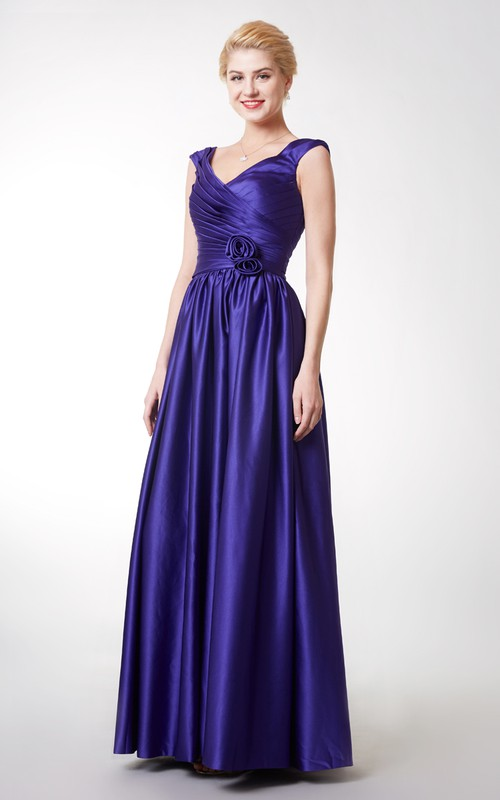 V-Neckline Pleated Cap-Sleeve A-Line Satin Gown