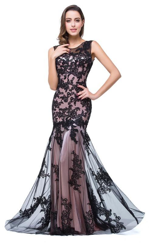 Trumpet Tulle Long Formal Sleeveless Glamorous Gown