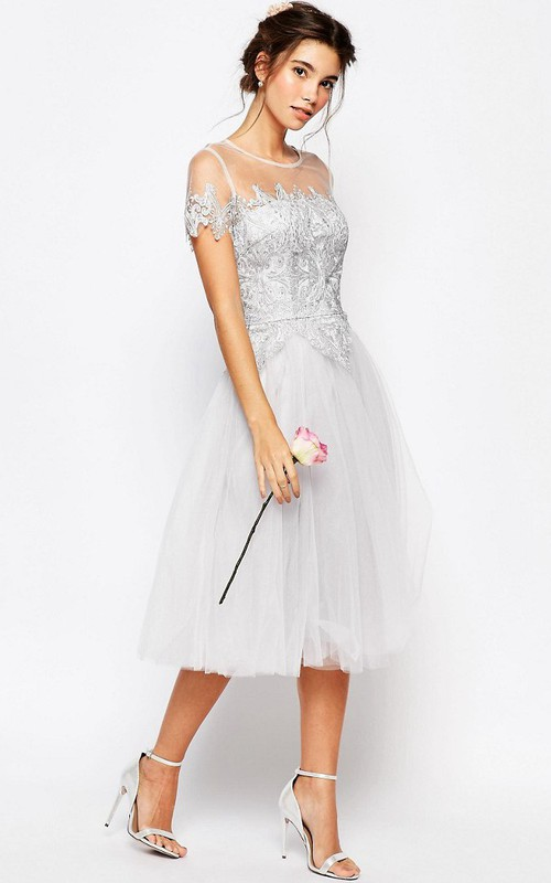 Illusion Scoop-neck Short Sleeve Tea-length Tulle Dress With Appliques