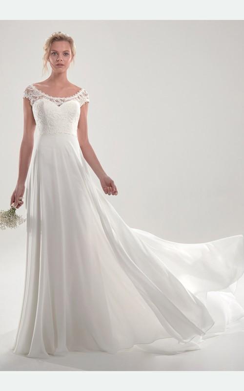 Ethereal Bateau Cap Sleeve Court Train Wedding Dress