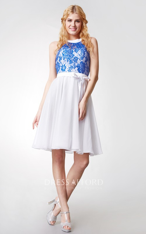 Ethereal A-line Lace Bodice Short Chiffon Dress With Keyhole Back