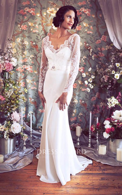 Satin Sash Flower Low-V-Back V-Neckline Dress