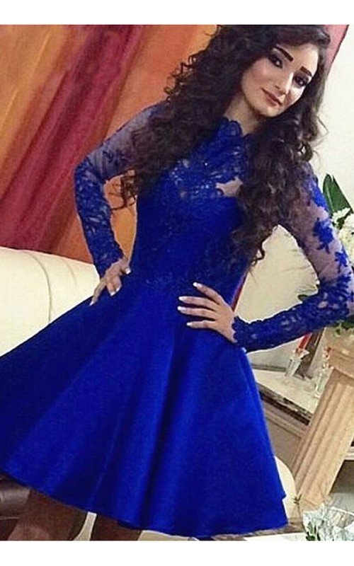Long Sleeve A-line Short Mini High Neck Lace Ruching Satin Lace Homecoming Dress