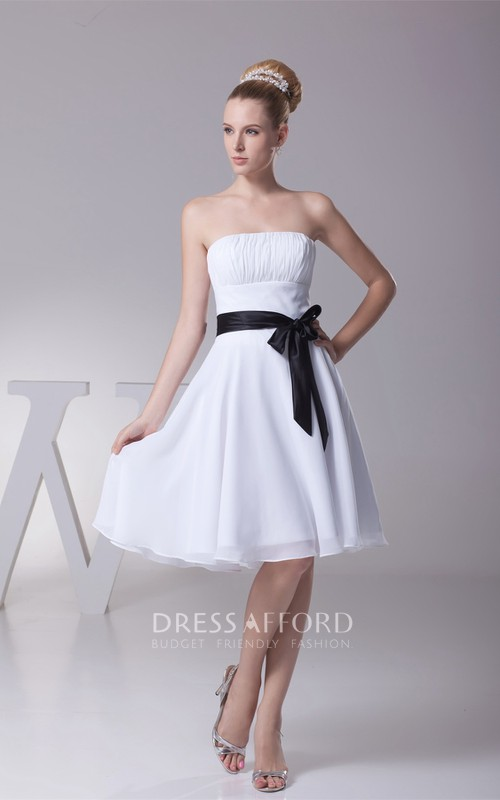 A-Line Bowknot Satin Ribbon Zipper Back Ruched Midi-Length Gown