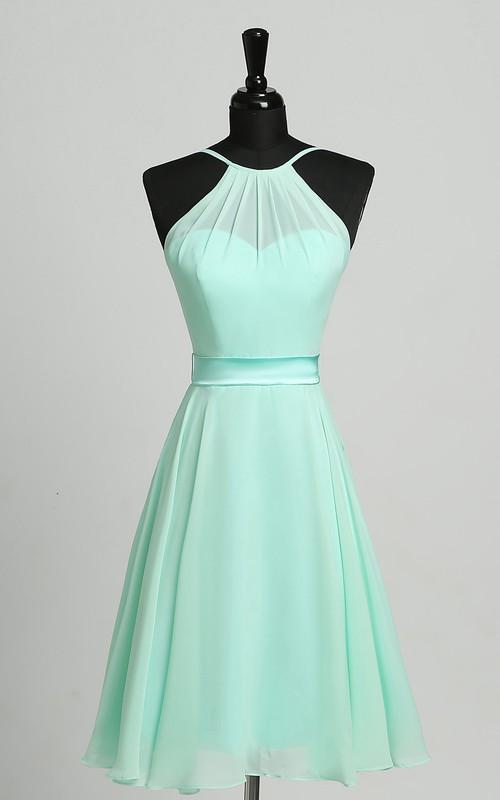 Sheath Halter Chiffon Sleeveless Zipper Straps Simple Short Mini Dress