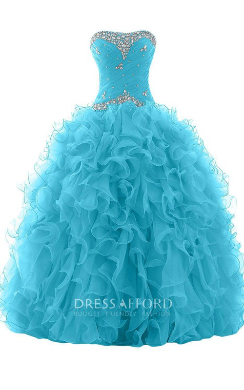 Strapless Criss-cross ruched Quinceanera Dress With Ruffles And Beading