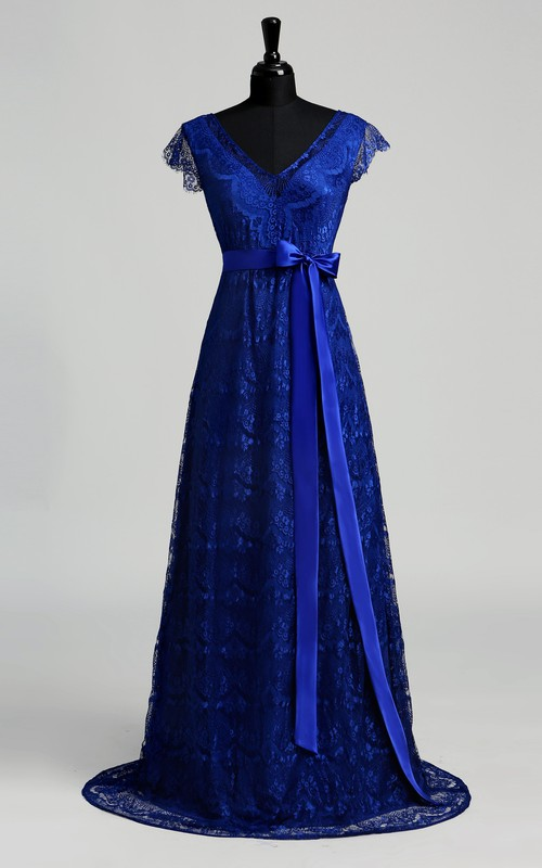 A-line Lace V-neck Floor-length Short Sleeve Sash/Ribbon Dress with Sweep/Brush Train
