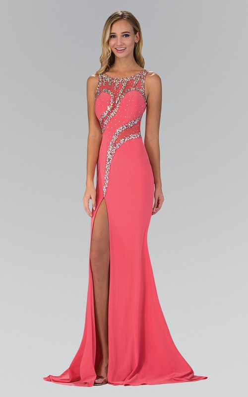 Scoop-neck Sleeveless Jersey Front-split Prom Dress With Beading And Illusion