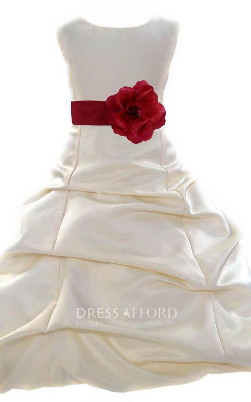 Ruffled Floral Belt A-Line Cap-Sleeved Gown