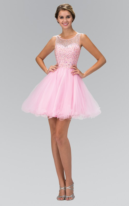 A-Line Ruffled Jeweled Mini Scoop-Neck Tulle Sleeveless Illusion Dress