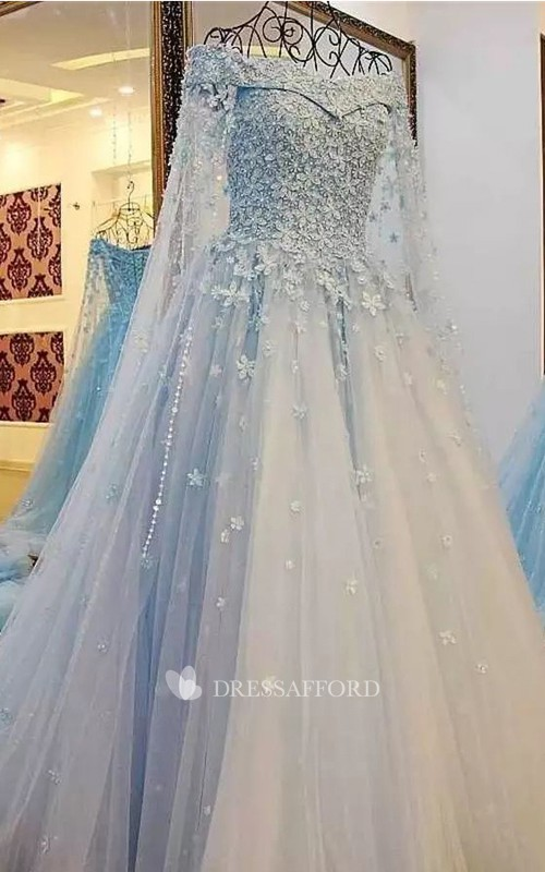 Vintage Off-the-shoulder Short Sleeve Lace Tulle A-Line Wedding Dress