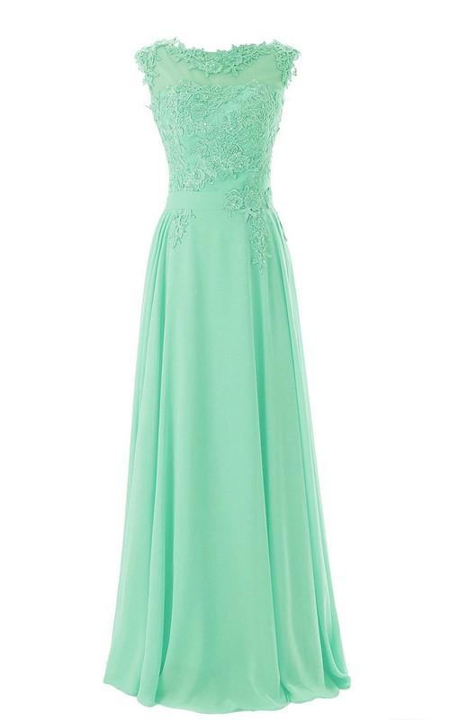 Appliqued Low-V Back Floral Full-Length Gown