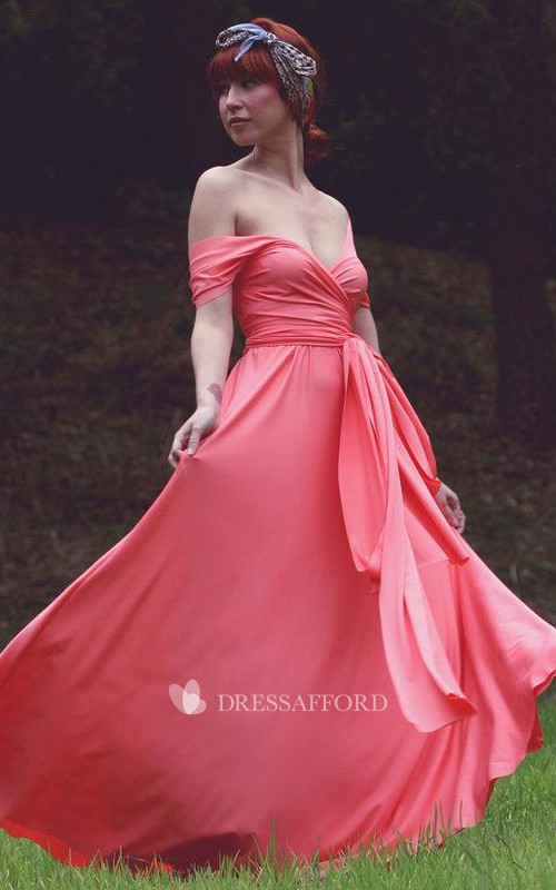 Off-the-shoulder Criss-cross A-line Chiffon Long Dress With bow