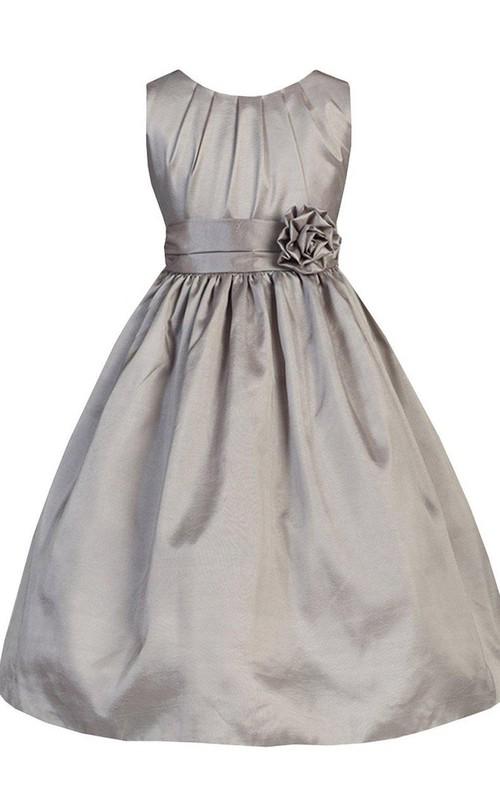 Pleated Floral A-Line Sleeveless Taffeta Dress
