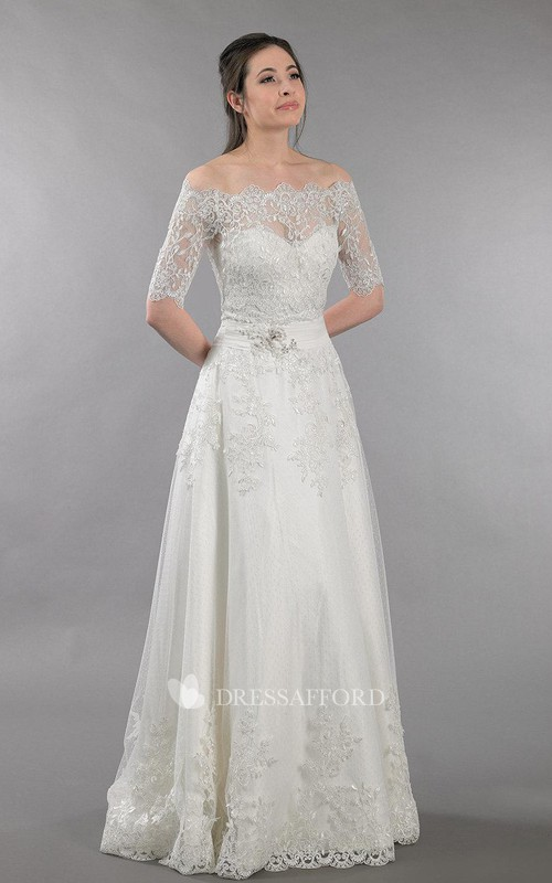 Off-the-shoulder Half Sleeve Lace A-line Wedding Dress With Appliques