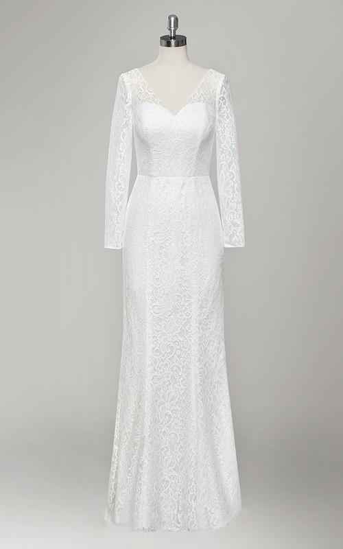 Plunged Long Sleeve Lace Sheath Wedding Dress With Low-V Back