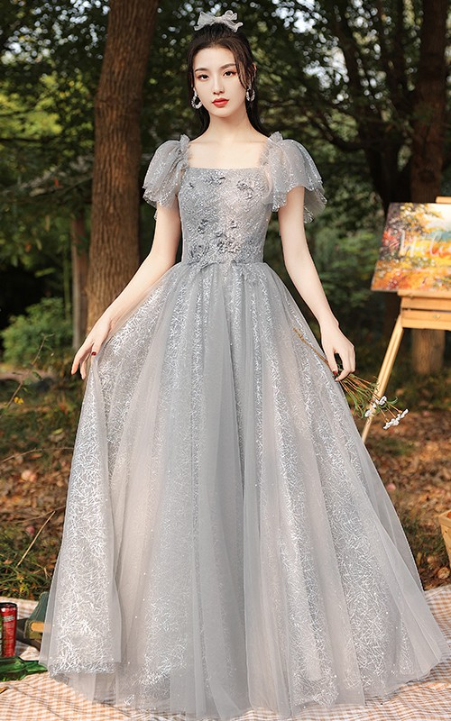 Square High Neck V-neck Tulle Floor-length Formal Dress With Appliques and Ruffles