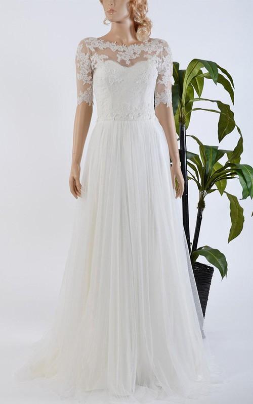 Tulle Satin Bowed Lace Bolero Wedding Dress