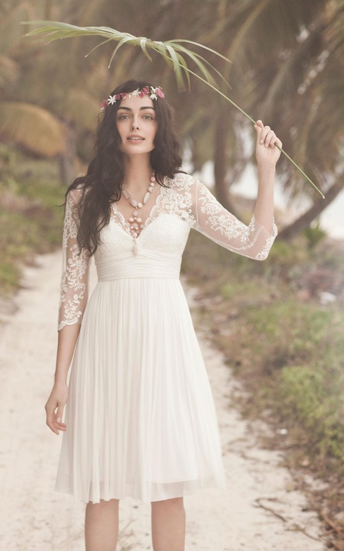 Simple Beach Style Chiffon V-neck Knee-length 3/4 Sleeve Dress with Lace