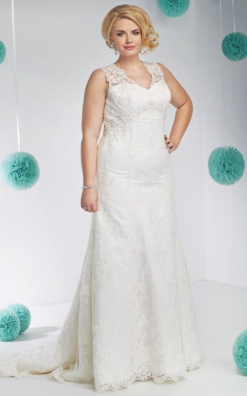 V-neck Sleeveless Lace Appliques plus size Wedding Dress With Keyhole