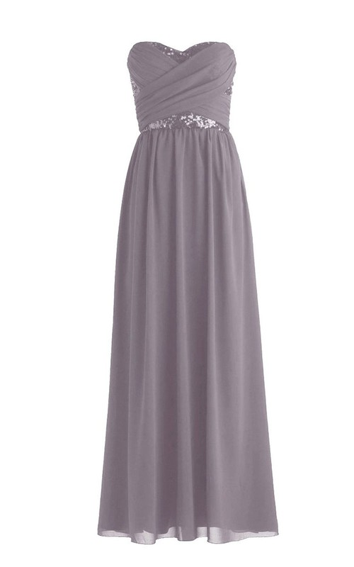 Ruched Rhinestone Criss-Cross Sweetheart Floor-Length Gown