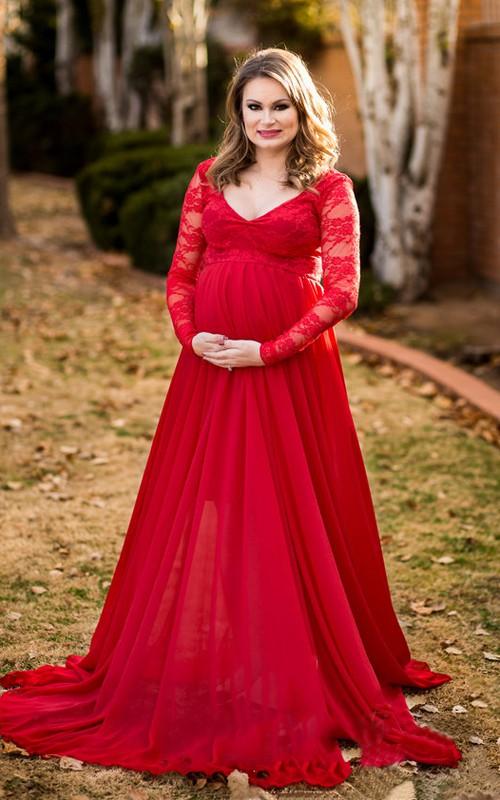V-neck Long Sleeve Lace Pleated Maternity Dress