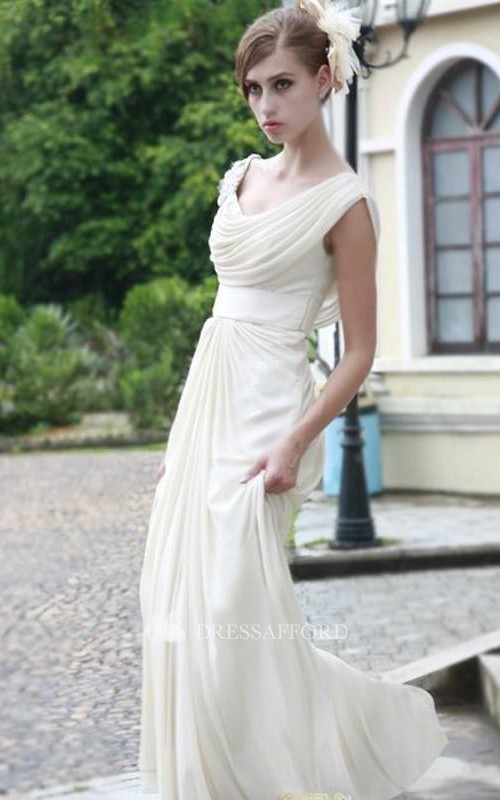 New A-line Floor-length Scoop Ruffles Sleeveless Chiffon Dress