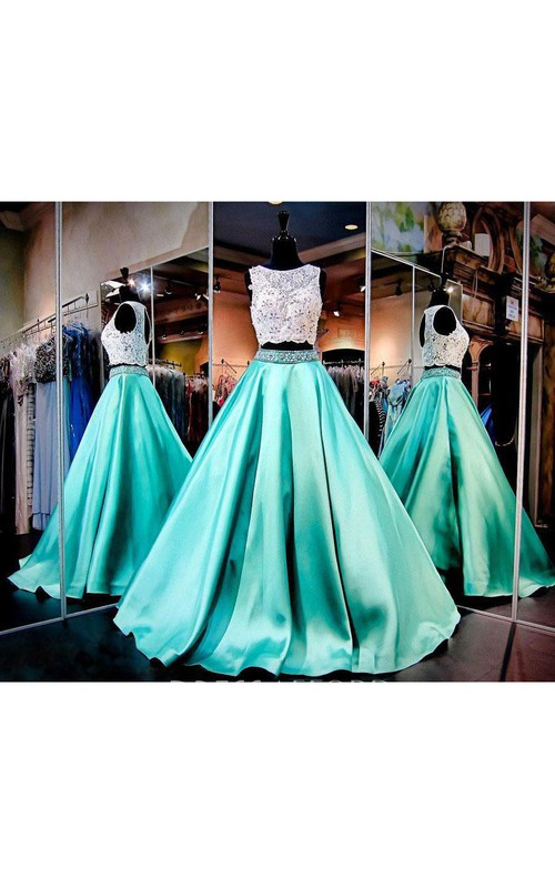 Satin Lace Long A-Line Corset-Back Rhinestone Dress