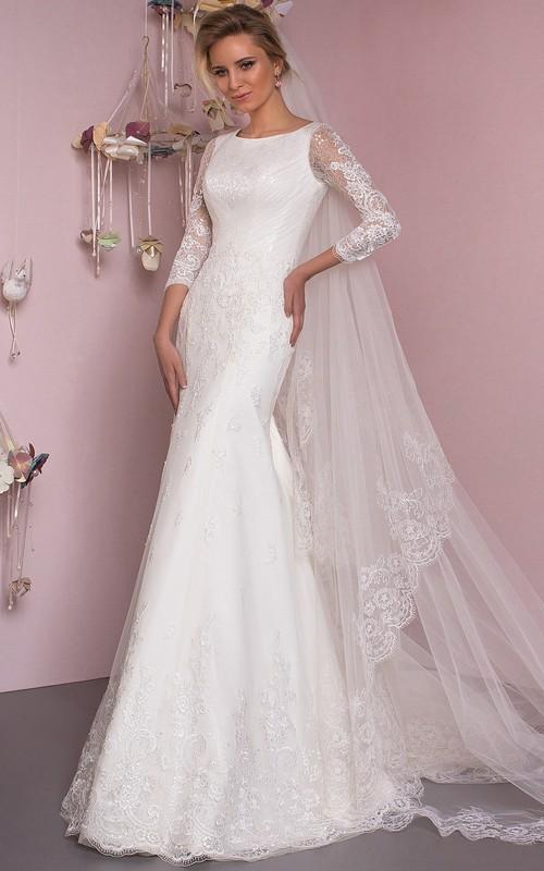 Lace Bateau Mermaid Sheath Wedding Dress With Low-V Back And Sweep Train