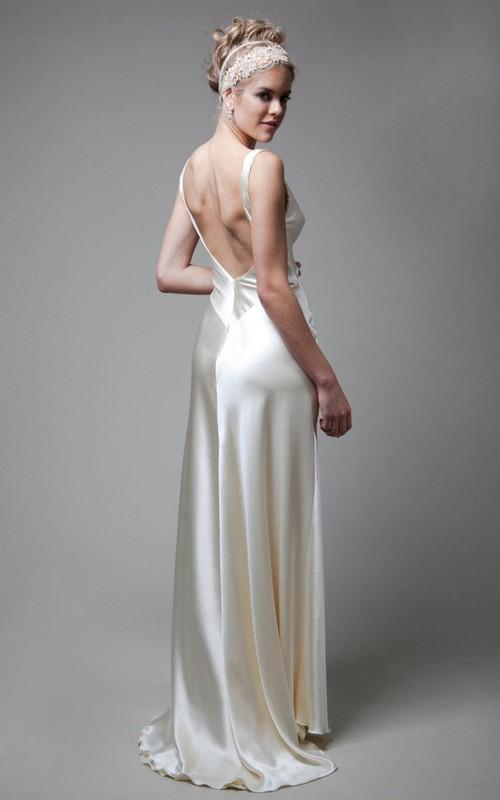 Deep-V-Back Satin High-Waist V-Neckline Wedding Long Gown