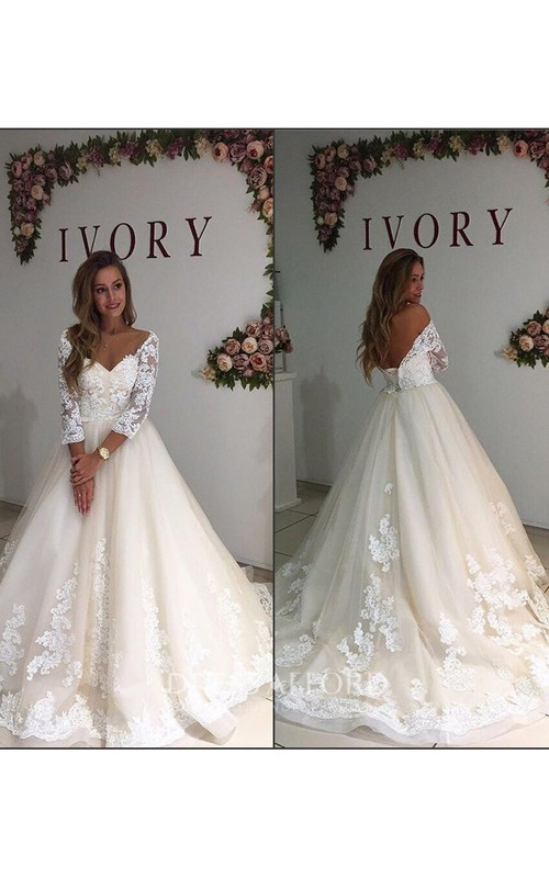 Off-the-shoulder Lace Tulle Illusion 3/4 Length Sleeve Wedding Gown