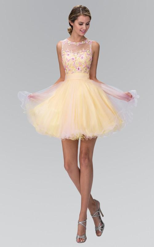 Multi-Color Appliqued Appliqued A-Line Mini Sleeveless Jewel-Neck Tulle Dress