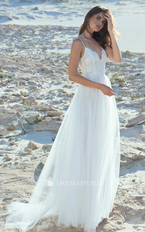 Sexy Spaghetti Plunging Tulle Wedding Dress With Lace Top And Open Back With Straps