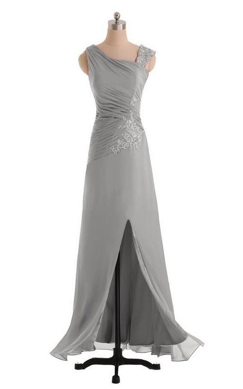 Sleeveless Chiffon Dress With Front Slit and Ruching