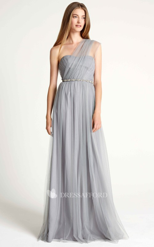 One-shoulder Tulle Pleated Bridesmaid Dress With Embellished Waist