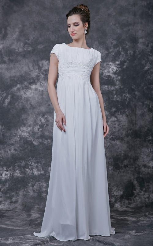 Lightweight Chiffon Skirt Ruched-Top Simple Dress