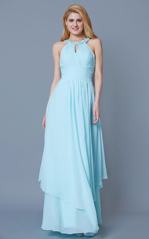 Chiffon Keyhole Back High-Waist High-Neckline Formal Gown