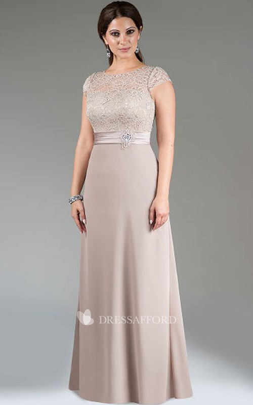 Bateau Cap-sleeve Jersey plus size Dress With Lace top
