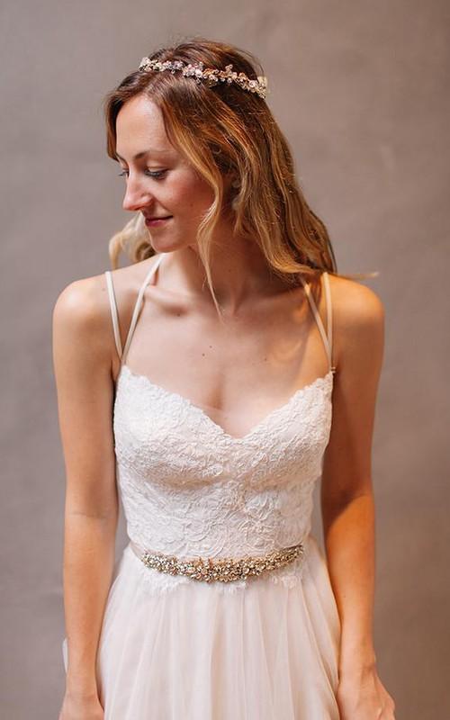 Spaghetti Lace Tulle  Sleeveless Wedding Gown