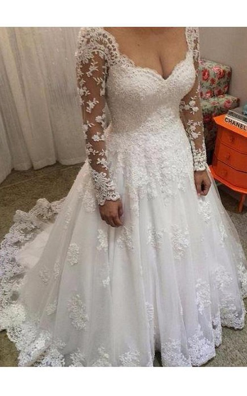 V-neck Lace Illusion Long Sleeve Wedding Dress