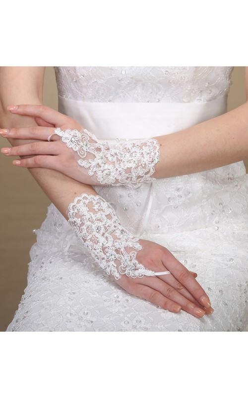 New Lace Sequins Hooks Short Length Strap Gloves