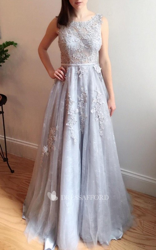 Bateau Sleeveless A-line Tulle Lace Appliqued Dress With Deep-V Back
