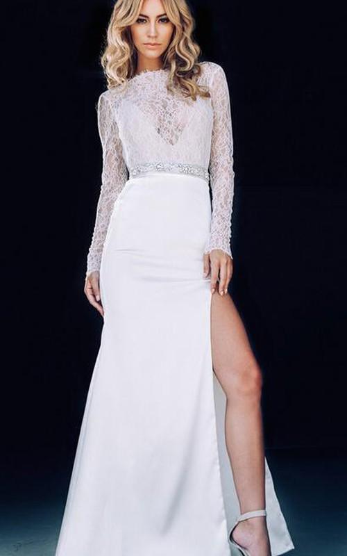White Front-Slit Jewels Prom Lace Sassy Mermaid Dress