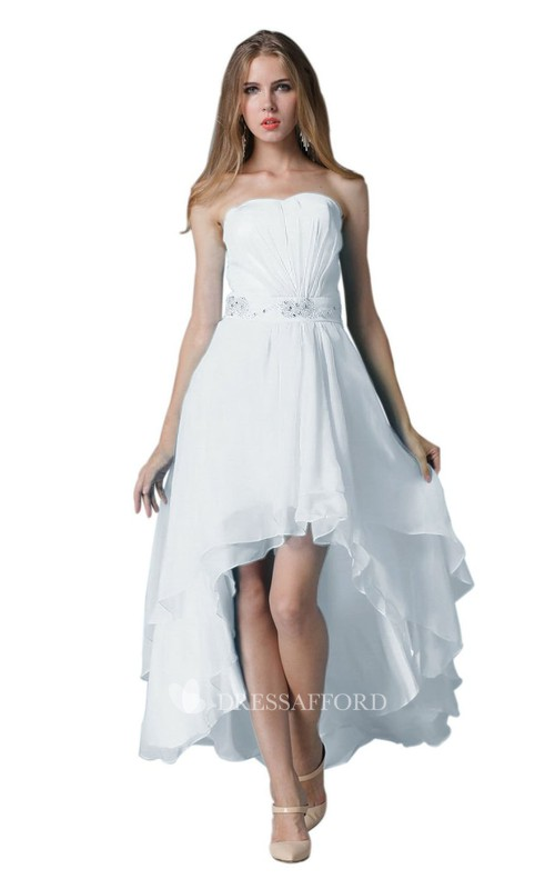 Jeweled Layered Ruched Strapless Chiffon High-Low Dress