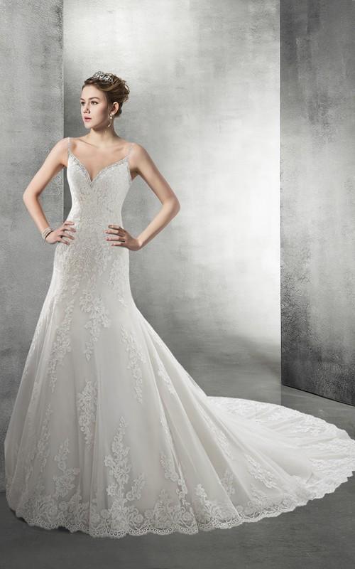 Bridal Jeweled Spaghetti Backless Royal Dress