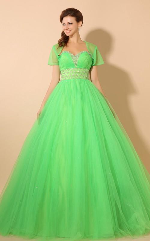 High-Waist Crystal Soft Tulle A-Line Princess Ball Gown