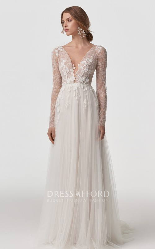 Bohemian Long Sleeve A Line Lace Tulle V-neck Wedding Dress with Appliques and V Back