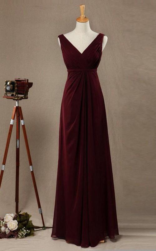 V-neck Sleeveless Chiffon Floor-length Empire Bridesmaid Dress