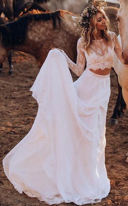 Casual Long Sleeve Bateau Two Piece Chiffon Lace Sweep Train Wedding Dress