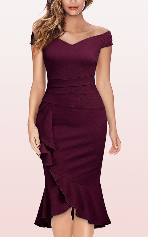 Elegant Off-the-shoulder Satin Bodycon Formal Dress With Ruffles